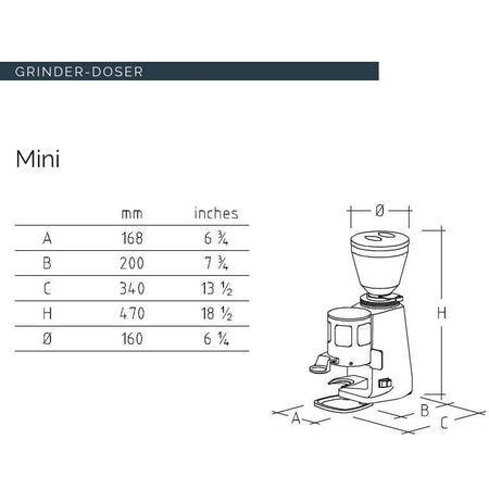 Mazzer Mini Espresso Grinder –Stepless, Doser, 58 mm Flat Burr - Dimensions chart - at Total Espresso