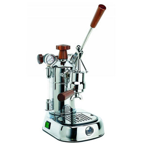 La Pavoni Professional Chrome w/ Wood, PCW-16 -at Total Espresso