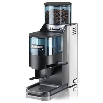 Rancilio Rocky SS grinder – flat burr, stepped, doser - at Total Espresso