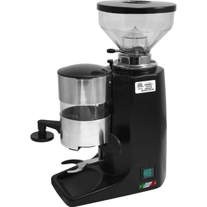 Quamar M80 Espresso Grinder – Flat Burr, Stepped, Doser, Black - at Total Espresso