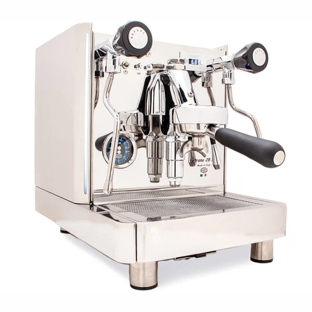 Quick Mill Vetrano 2B EVO Espresso Machine – Dual Boiler, PID, Switchable - left front view with steam and hot water knobs - at Total Espresso