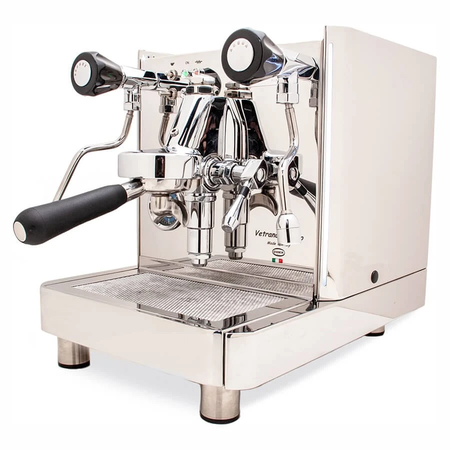 Quick Mill Vetrano 2B EVO Espresso Machine – Dual Boiler, PID, Switchable - right front view with steam and hot water knobs - at Total Espresso