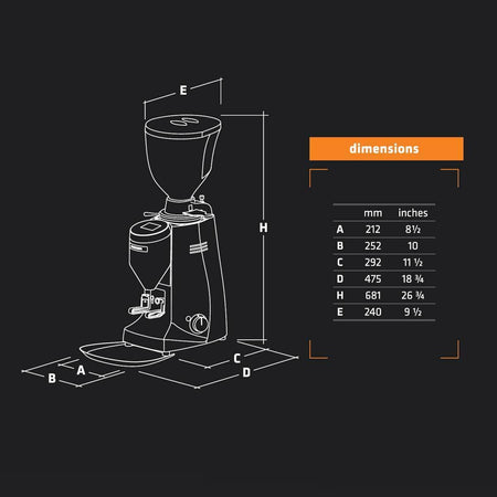 Mazzer Major V Electronic Espresso Grinder - dimensions - at Total Espresso