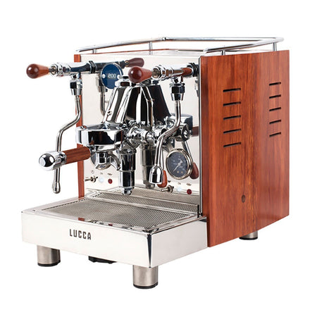 LUCCA M58 V2, Double Boiler, Switchable, PID Espresso Machine - with bubinga wood side panels - at Total Espresso