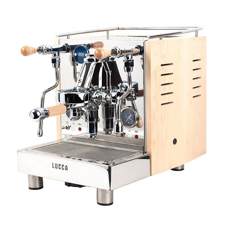 LUCCA M58 V2, Double Boiler, Switchable, PID Espresso Machine - with maple wood side panels - at Total Espresso