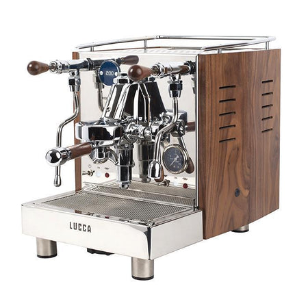 LUCCA M58 V2, Double Boiler, Switchable, PID Espresso Machine - with walnut wood side panels - at Total Espresso