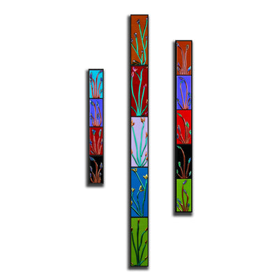 "Tall Floral Wall Art Set of 3 ""Buddies Series"" - Made to Order"
