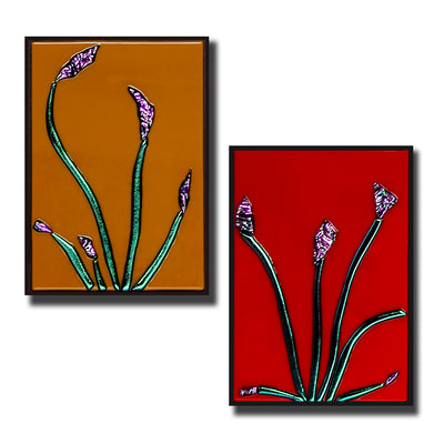 "Small Floral Wall Art Set of 2 ""Buddies Series"" - Made to Order"