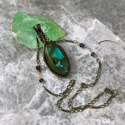 Camou Wire Wrapped Necklace - London Blue Topaz & Black Opal