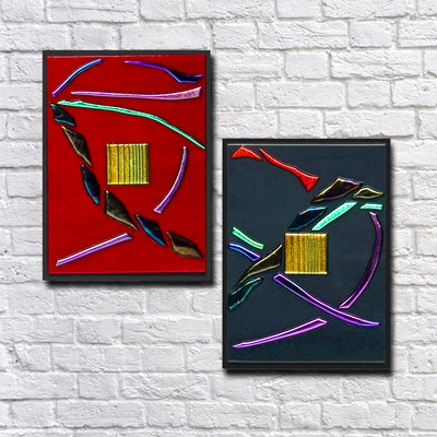 "Small Flowing Abstract Wall Art Set of 2 ""Go With The Flow Series"" - Made to Order"
