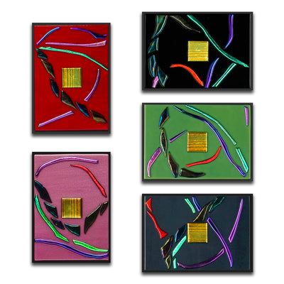 "Abstract Gallery Wall Panels Set of 5 ""Go With The Flow Series"" - Made to Order"