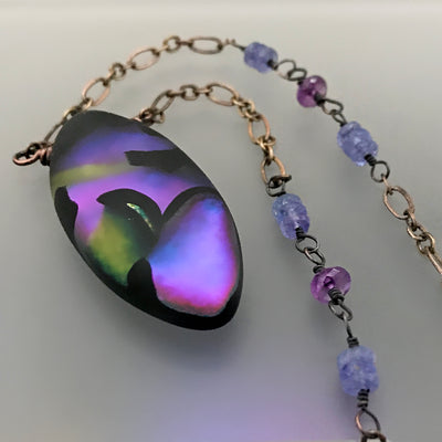 Ultraviolet Nights in Matte Satin Necklace - Tanzanite & Amethyst