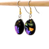 Oval Ultraviolet + Gold Earrings - French Hook Ear Wires