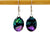 Oval Emerald + Sapphire Pink Earrings - French Hook Ear Wires