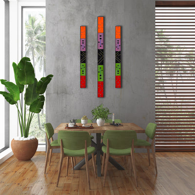 "Large Abstract Geometric Wall Art Set of 3 ""Rhythm Series"" - Made to Order"