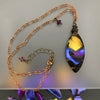 Sunrise Ultraviolet & Gold Wire Wrapped Necklace - Amethyst
