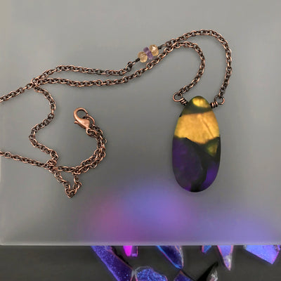 Sunrise Purple & Gold Wrapped Necklace - Imperial Topaz & Amethyst