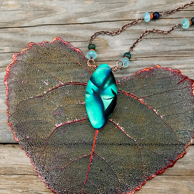 Tahiti Copper Wire Wrapped Necklace - Chalcedony, Sunstone & Black Opal
