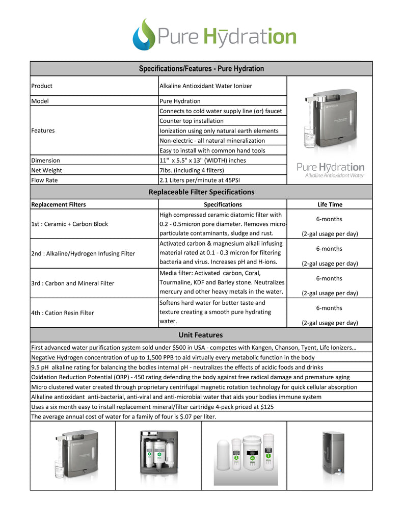 Cosan Pure Hydration Water Ionizer Specifications