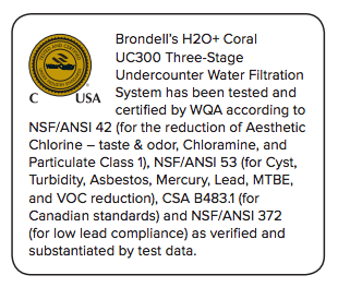 Brondell Coral UC300 Three-Stage Under-Counter Water Filtration System