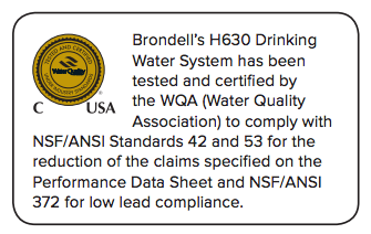 Brondell H2O+ Cypress H630 Countertop Water Filtration System Certification graphic