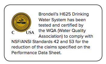 Brondell H2O+ Pearl H625 Countertop Water Filtration System certification graphic