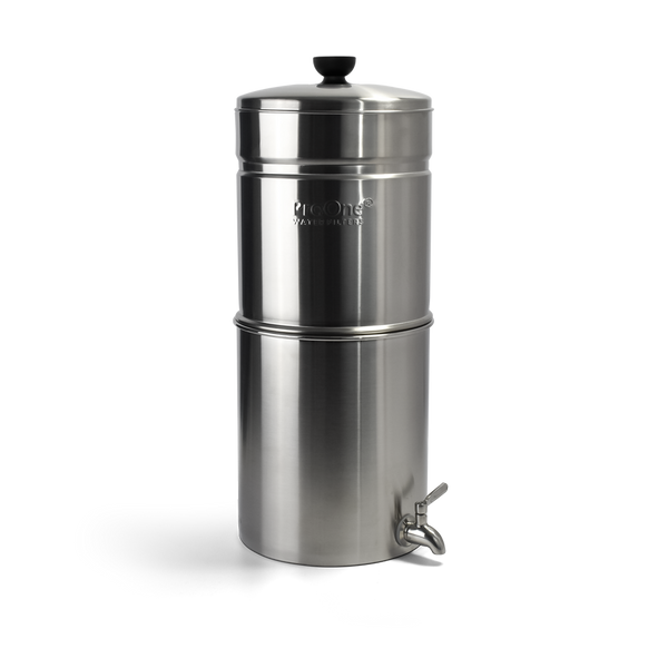 "Propur ProOne Traveler+ Stainless Steel Gravity Water System with 1 ProOne G2.0 5"" Filter in Brushed Finish"