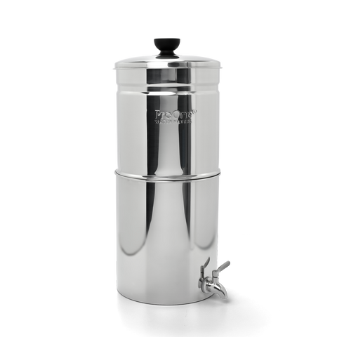 "Propur ProOne Big+ Stainless Steel Gravity Water System with 1 ProOne G2.0 7"" Filters in Brushed Finish"