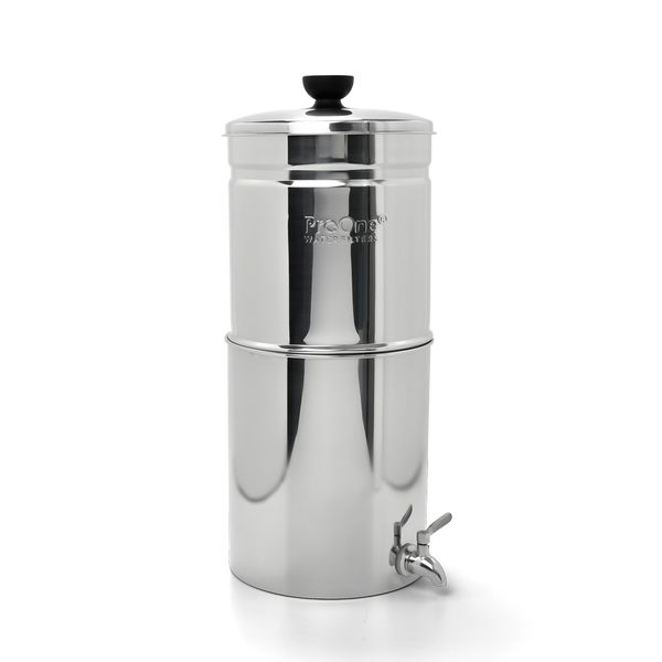 "Propur ProOne Big+ Stainless Steel Gravity Water System with 1 ProOne G2.0 7"" Filters in Polished Finish"