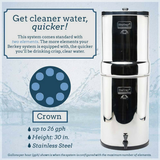 Crown Berkey Water Filter 6 gal with 8 Black Berkey Purification Elements (CRN8X8-BB) - Purely Water Supply