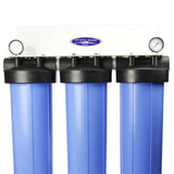 Crystal Quest 6-8 GPM Big Blue Triple Smart Series Compact Whole House Water Filter (CQE-WH-01109) - Purely Water Supply