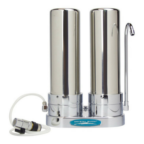 Crystal Quest Double Cartridge Stainless Steel  Lead Removal Countertop Water Filter System (CQE-CT-00169) - Purely Water Supply