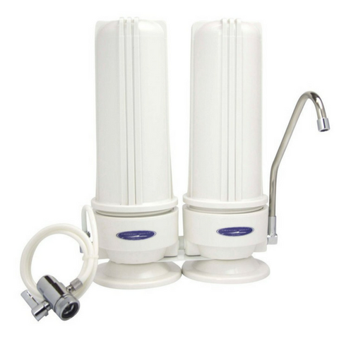 Crystal Quest Double Cartridge White Lead Removal Countertop Water Filter System (CQE-CT-00165) - Purely Water Supply