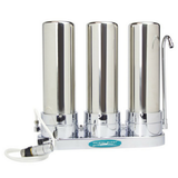 Crystal Quest Triple Cartridge Stainless Steel Lead Removal Countertop Water Filter System (CQE-CT-00170) - Purely Water Supply