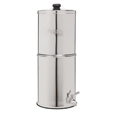 "Propur Original 304 Nomad Stainless Steel Gravity Water System with 2 ProOne G2.0 5"" Filters in Polished Finish - Purely Water Supply"
