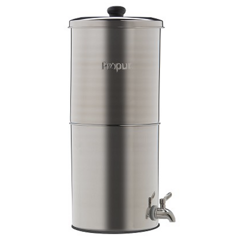 "Propur Original 304 Nomad Stainless Steel Gravity Water System with 2 ProOne G2.0 7"" Filter in Brushed Finish - Purely Water Supply"