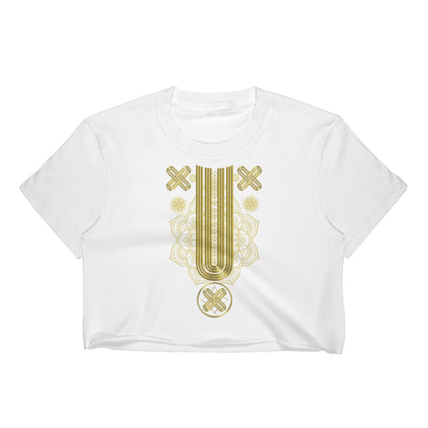 Gold Native Pattern Part 2 Women's Crop Top