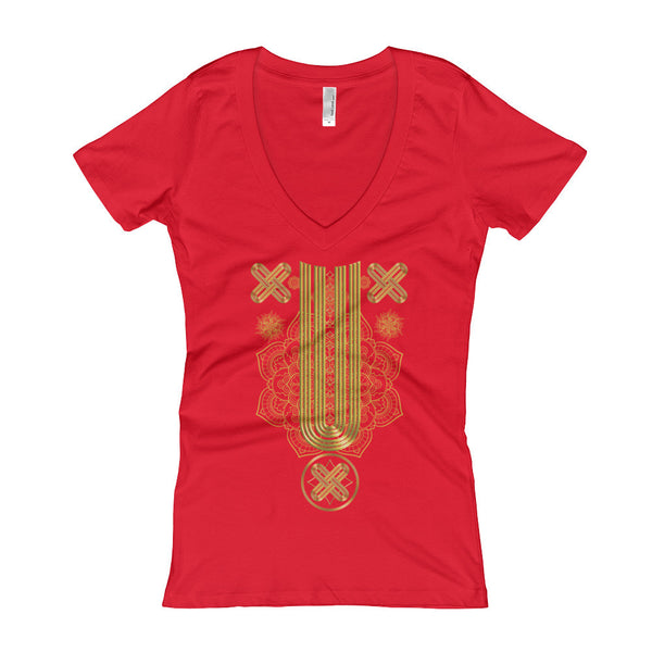 Gold Native Pattern Part 2 Women's V-Neck T-shirt