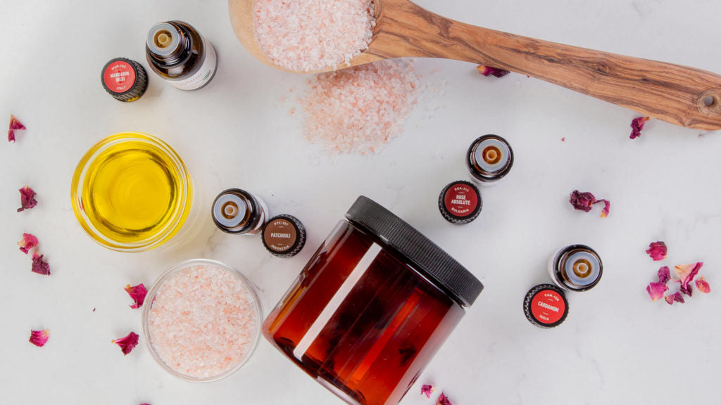 how to use essential oils for valentine's day shower scrub recipe