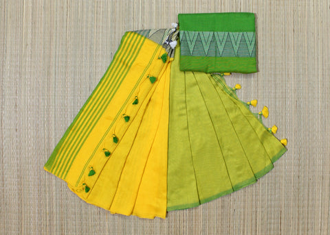 lpmypgkcs-handloom khadi cotton saree with temple thread border in mid saree