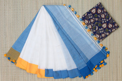 LPKCSP11-khadi cotton saree with three side pompom border and extra kalamkari blouse