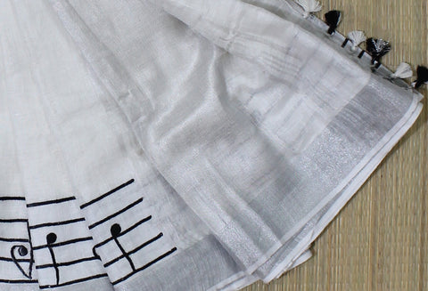 white linen saree musical intruments - lydiaspurple