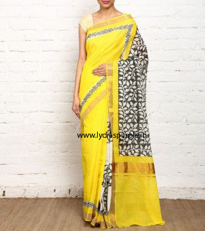 KHBYB01-Kerala hand block print yellow and black saree - LydiasPurple
