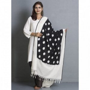 PCDIBWD-01 Pochampally double ikat dupatta hand woven with black and white dots - Lydiaspurple