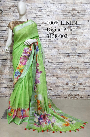 DPL14-Multi colour handloom digital printed linen saree with blouse