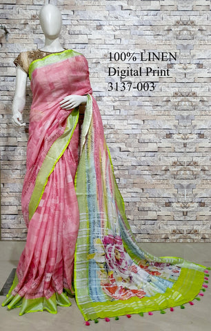 DPL13-Multi colour handloom digital printed linen saree with blouse