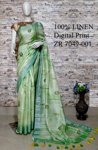 DPL15-Multi colour handloom digital printed linen saree with blouse