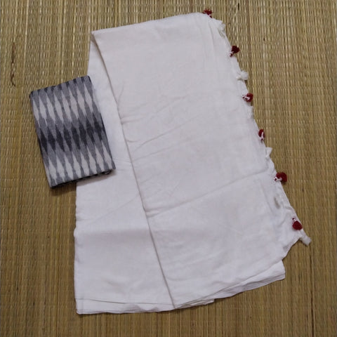 KCSW-handloom plain white khadi cotton saree with running blouse and ikkat blouse