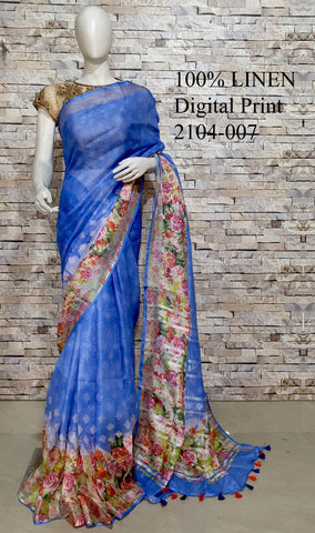 DPL16-Multi colour handloom digital printed linen saree with blouse