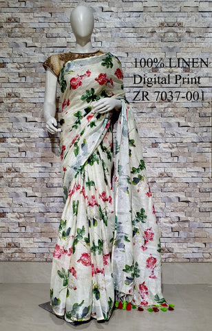 DPL17-Multi colour handloom digital printed linen saree with blouse